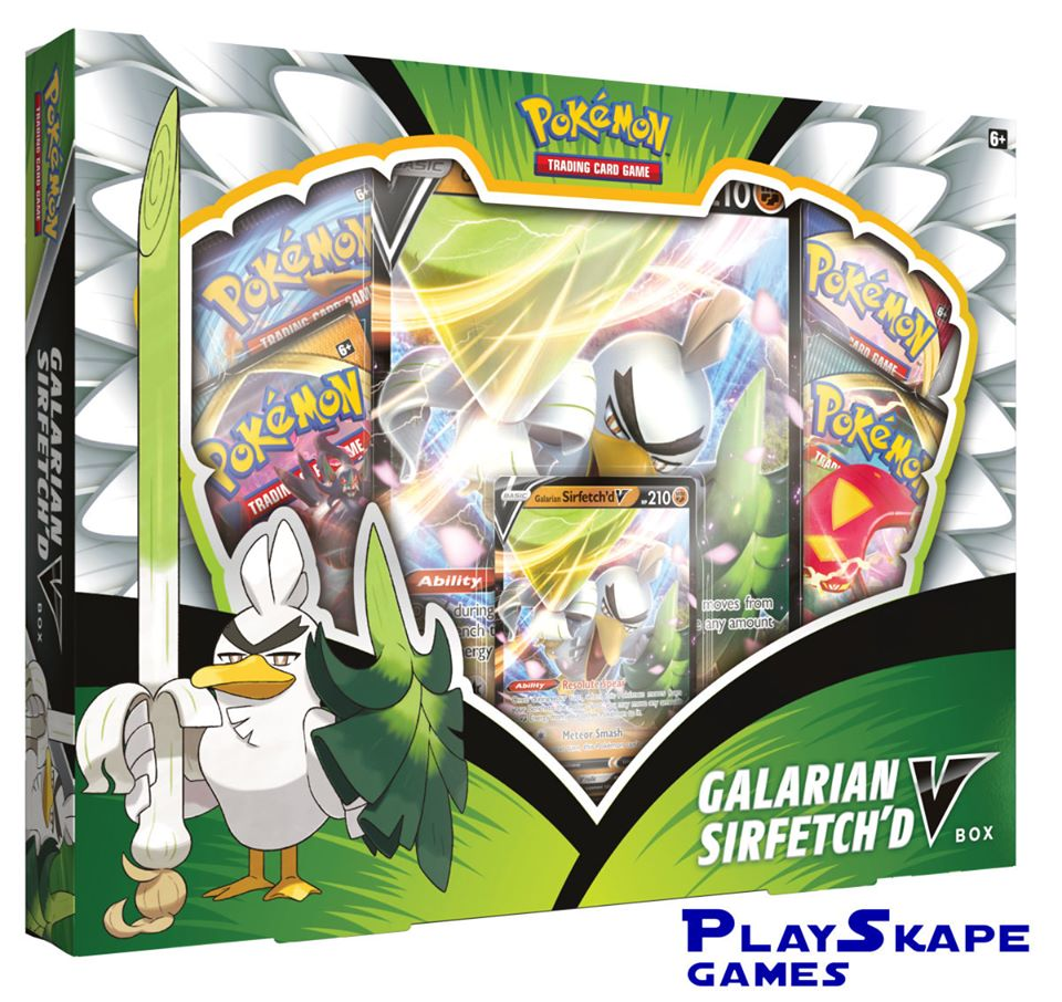 """This was the mysterious V Box that had been announced for a few weeks, the """"Galarian Sirfetch'd V BOX"""" will soon arrive in America."""